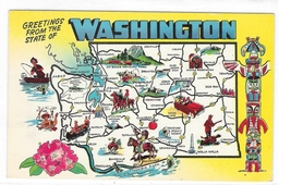 Greetings from the State of Washington Illustrated Map Vintage Postcard - $2.99