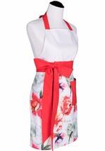 Flirty Aprons Kenzie Coral Floral Apron Long Waist Ties  NWT - $18.81