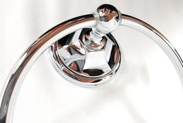 NEW Polished Chrome Solid Metal Towel Ring Bathroom Hook Vanity Accessor... - $14.65