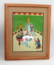 1960s Matted Framed PBN Paint by Number Circus Clown Horse Monkey Ringma... - $53.41