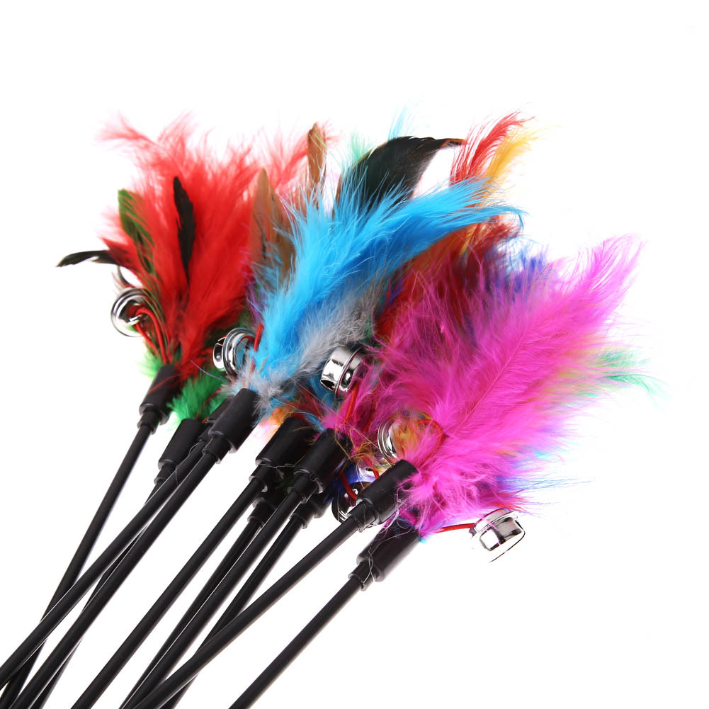 5Pcs Cat Toys Soft Colorful Cat Feather Bell Rod Toy for Cat Kitten Funny Playin image 5