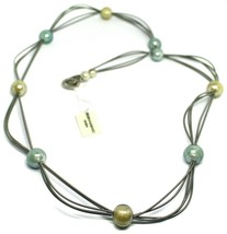"""MULTI WIRES NECKLACE YELLOW BLUE BIG MURANO GLASS SPHERES, 90cm 35"""" LONG, ITALY image 1"""