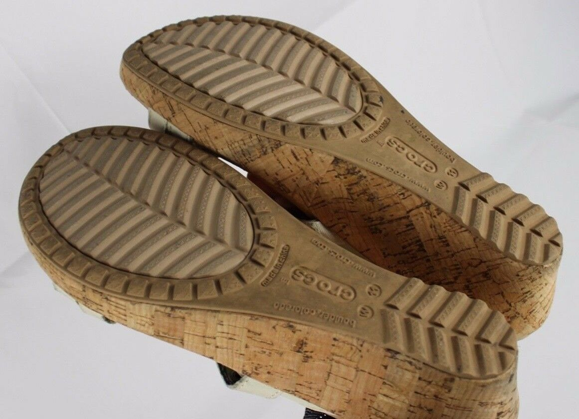 Crocs Plataforma Mujer Sandalias Tiras Cuero Corcho Desliza Beis Talla 11