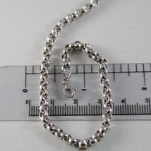 18K WHITE GOLD CHAIN 17.70 IN, BIG ROUND CIRCLE ROLO LINK, 4 MM MADE IN ITALY image 1