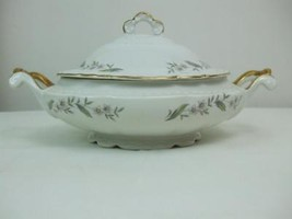 Soup Tureen w Lid Gardenia Pattern White Gold Trim Embassy USA Vitrified... - $39.59