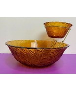 Glass Basket Weave Chip and Anchored Dip Bowl Marigold Brown  - $24.74