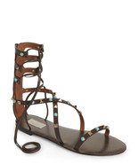 NEW VALENTINO Brown Cacao Rockstud Gladiator Sandals (Size 39) - MSRP $1... - $799.95