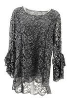 Isaac Mizrahi Bi-Color Lace Knit Top Tiered Bell Slvs Grey L NEW A343259 - $44.53