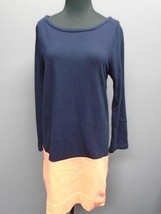J CREW Navy N Coral Cotton Scoop Neck Long Sleeve Casual Shirt Dress Sz ... - $30.71