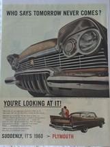 Vintage 1960 Chrysler Plymouth Flight Sweep Magazine Advertisement Ad Sealed! - $13.16