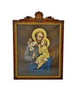 Antique Original Pastel Portrait Of St. Joseph and Baby Jesus in Carved ... - $2,495.00