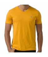Lacoste Men's Premium  Athletic Cotton V-Neck Shirt T-Shirt Curcuma - $42.50