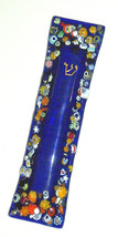 Murano Glass Handmade Mezuzah Case 10 cm w Scroll Dark Blue Murrina Italy