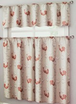 """3 pc. Curtains Set: Valance (56""""x14"""") & 2 Tiers (28""""x36"""") ROOSTER & STAMPS, VC - $17.81"""