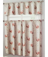 """3 pc. Curtains Set: Valance (56""""x14"""") & 2 Tiers (28""""x36"""") ROOSTER & STAM... - $17.81"""