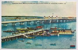 Old Linen Postcard Municipal Dock, Bridge of Lions & Atlantic, St. Augus... - $11.71