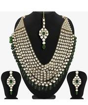 New Green Crystal Stud Kundan Indian Traditional Wedding Gold Plated Jew... - $45.32
