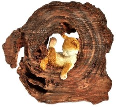 Top Collection Enchanted Story Garden Kitten Napping in Tree Trunk Outdo... - $22.93