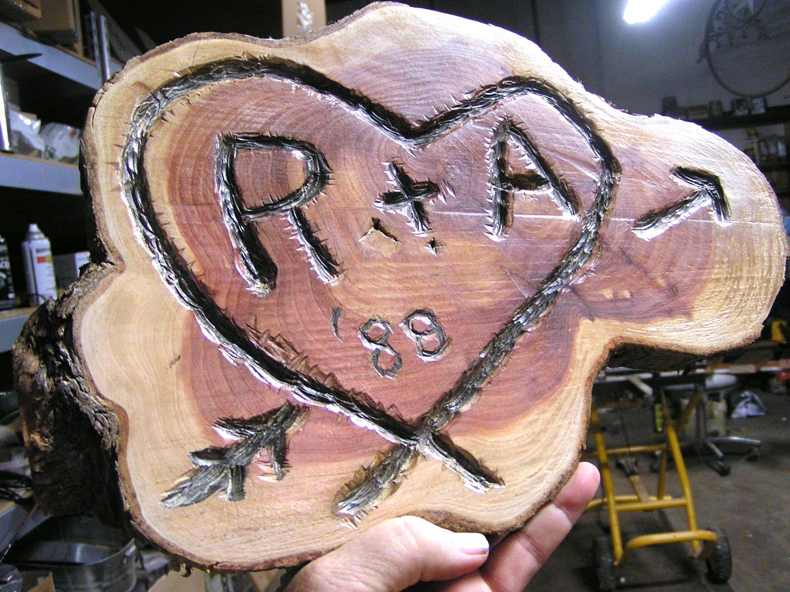 Personalized Kissing Tree carving, Wedding, Anniversary, Housewarming gift