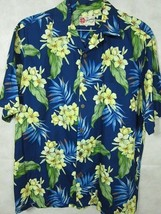 VINTAGE Hilo Hattie Dark Blue With Yellow Flowers Cotton Hawaiian Aloha ... - $29.99