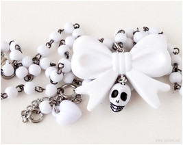 White Skull Necklace, Bow Pendant, Beaded Chain, Visual Kei, Gothic Loli... - $25.00