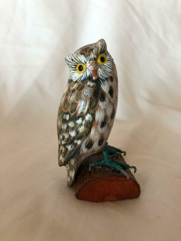 Wooden Owl 4 Vintage Figurines Set Hand Painted