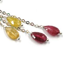 18K WHITE GOLD PENDANT EARRINGS, YELLOW AND PURPLE DROP TOURMALINE, TWO WIRES image 3