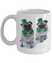 Cute Pug Mug For Who Loves Pug Dog And St Patricks Day Mug, 11oz Ceramic... - $12.95