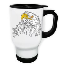 Beautiful Eagle Art White/Steel Travel 14oz Mug y399t - $17.93