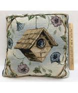 "Pillow Throw Bird House & Morning Glory Flower Tapestry Blue Decorative 16"" - $21.77"