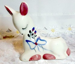 "VINTAGE WHITE BABY FAWN WITH BLUE BOW PORCELAIN PLANTER 5 3/4"" X 7"" X 3"""