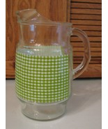 Heavy Glass Water Pitcher w Ice Lip Green Check Design Vintage Beverage - $12.85