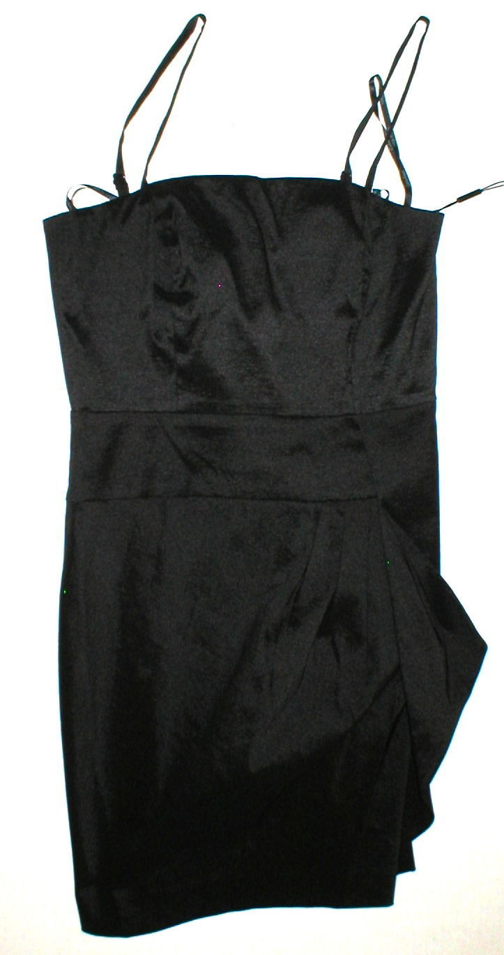 New Womens NWT Calvin Klein Draped Strapless or Strap Dress Black 10 Convertble