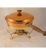Vintage Copper Chafing Dish Warming Serving Tray Brass 3 leg Stand Burner  - $29.65