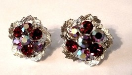 Red Rhinestone Silver Plated Screw Back Earrings Costume Fashion Vintage - $58.77