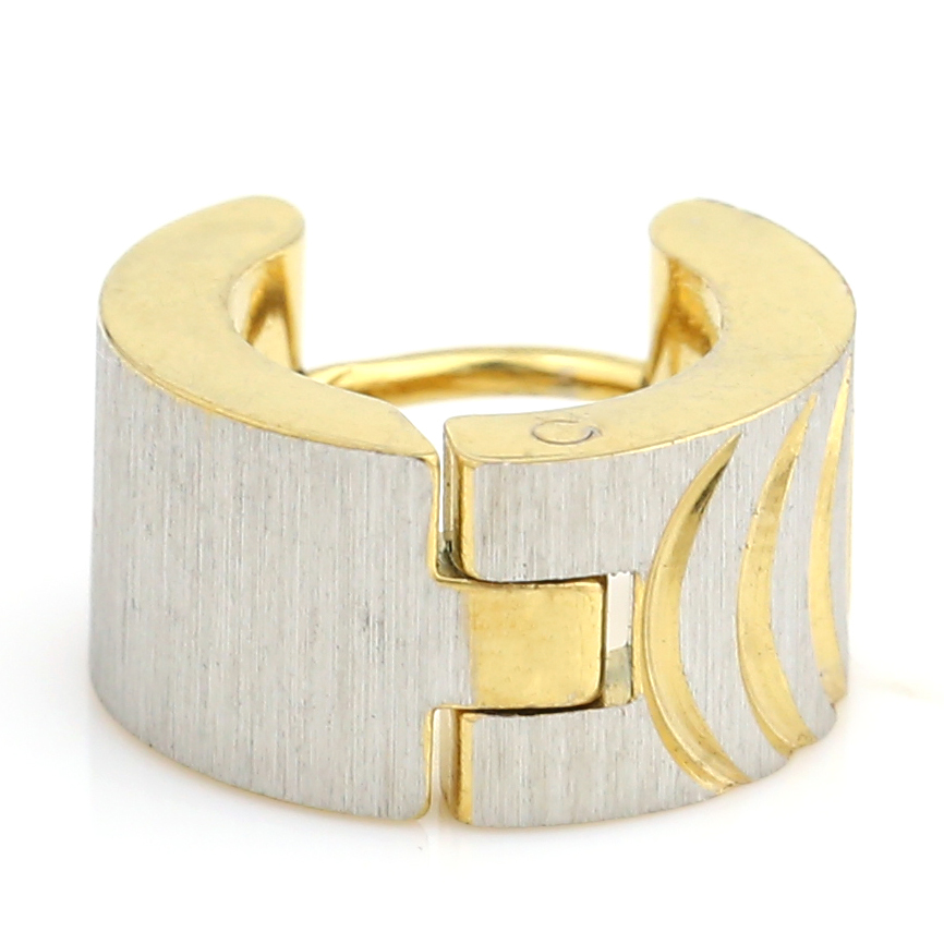 UNITED ELEGANCE Chic Two Tone (Silver & Gold) Huggie Hoop Earrings