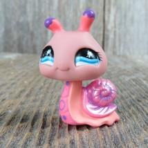 Littlest Pet Shop LPS Snail Pink Peach Purple Star Eyes 2008 Toy Figure Hasbro - $9.89