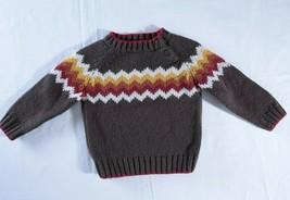 Gymboree brown sweater 18-24 months red orange white zig zag chevron button neck - $17.82