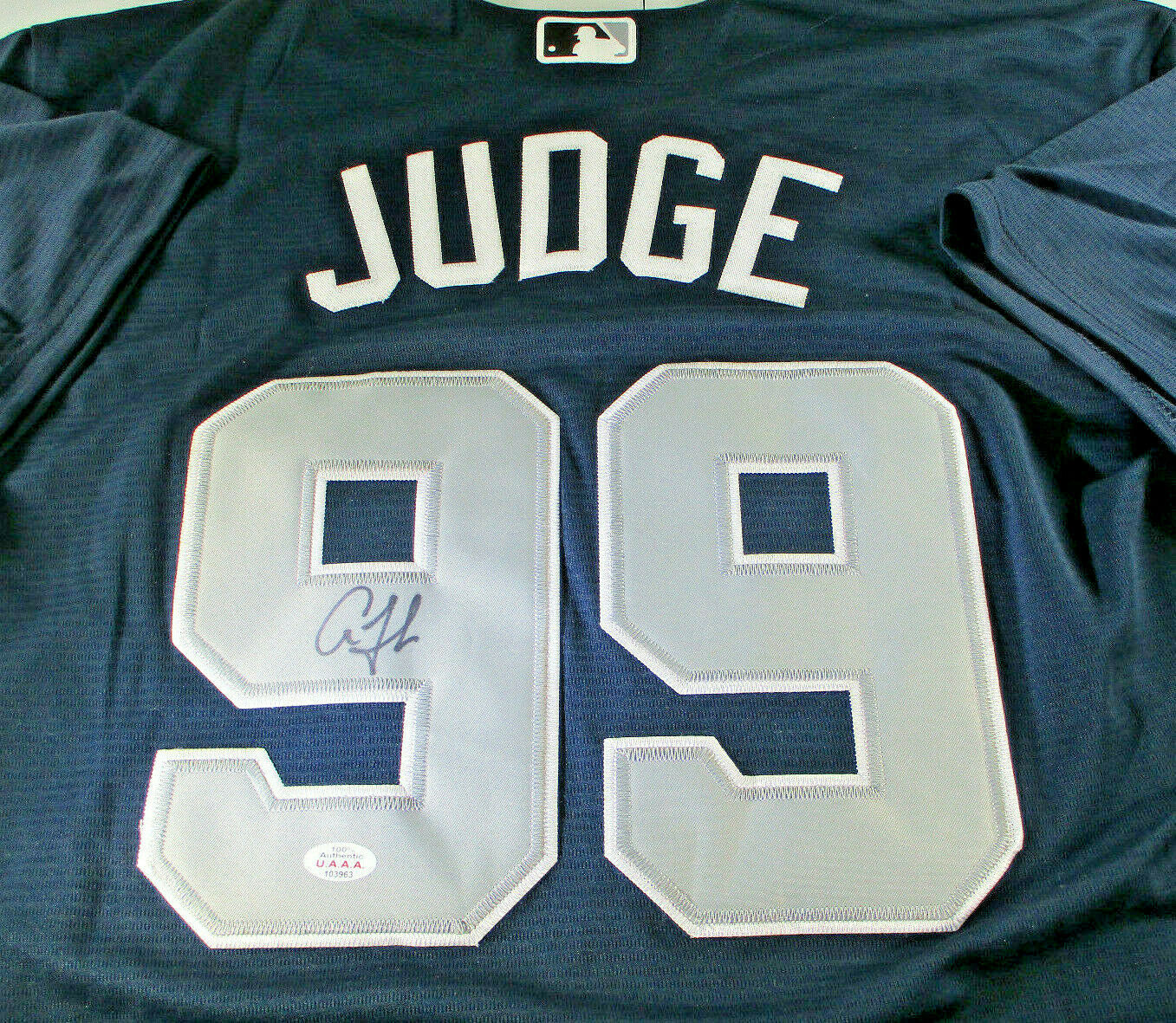 AARON JUDGE / AUTOGRAPHED NEW YORK YANKEES BLUE PRO STYLE BASEBALL JERSEY / COA