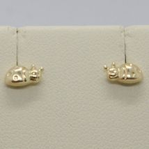 18K YELLOW GOLD EARRINGS, ROUNDED MINI LADYBIRD, LADYBUG, 8 MM, MADE IN ITALY image 3