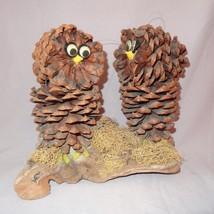 "Vintage Owl Pine Cone Driftwood Wall Hanging Brown Fold Art Handmade 8"" ... - $21.45"