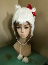 elope White Furry Kitty Hoodie Hat w/ Red Bow & Poms Animal Hood Christm... - $17.83 CAD