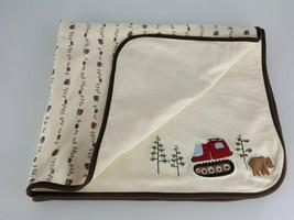 Gymboree In the Forest Baby Boy Blanket 2005 Cream Bear Tree Constructio... - $98.97