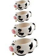 SET OF 4 CERAMIC COW MEASURING CUPS BY HOME ESSENTIALS - £28.99 GBP