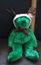 TY Beanie Buddy 2002 Holiday Teddy Plush Reindeer Bear Green w Tags - $5.93