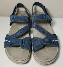 EARTH Origins Shane Blue Suede Leather Womens Sandal Shoes Flat Heel 7.5 - $19.75