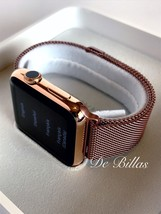 24K Rose Gold Plated 42MM Apple Watch GEN 1 rose Milanese Loop - $643.36