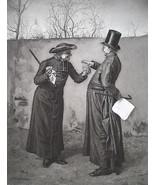 PRIESTS Take Smoke Break Between Theological Dispute - 1888 Fine Antique... - $21.60