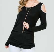 Black Cold Shoulder Top, Black Ruched Side Top, Lace Trim Cold Shoulder Top