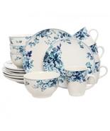 Elama Traditional Blue Rose 16 Piece Dinnerware Set - $68.99